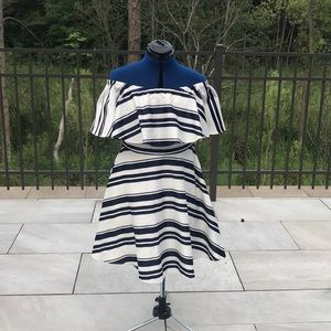 Badgley Mischka Navy & White Off Shoulder dress